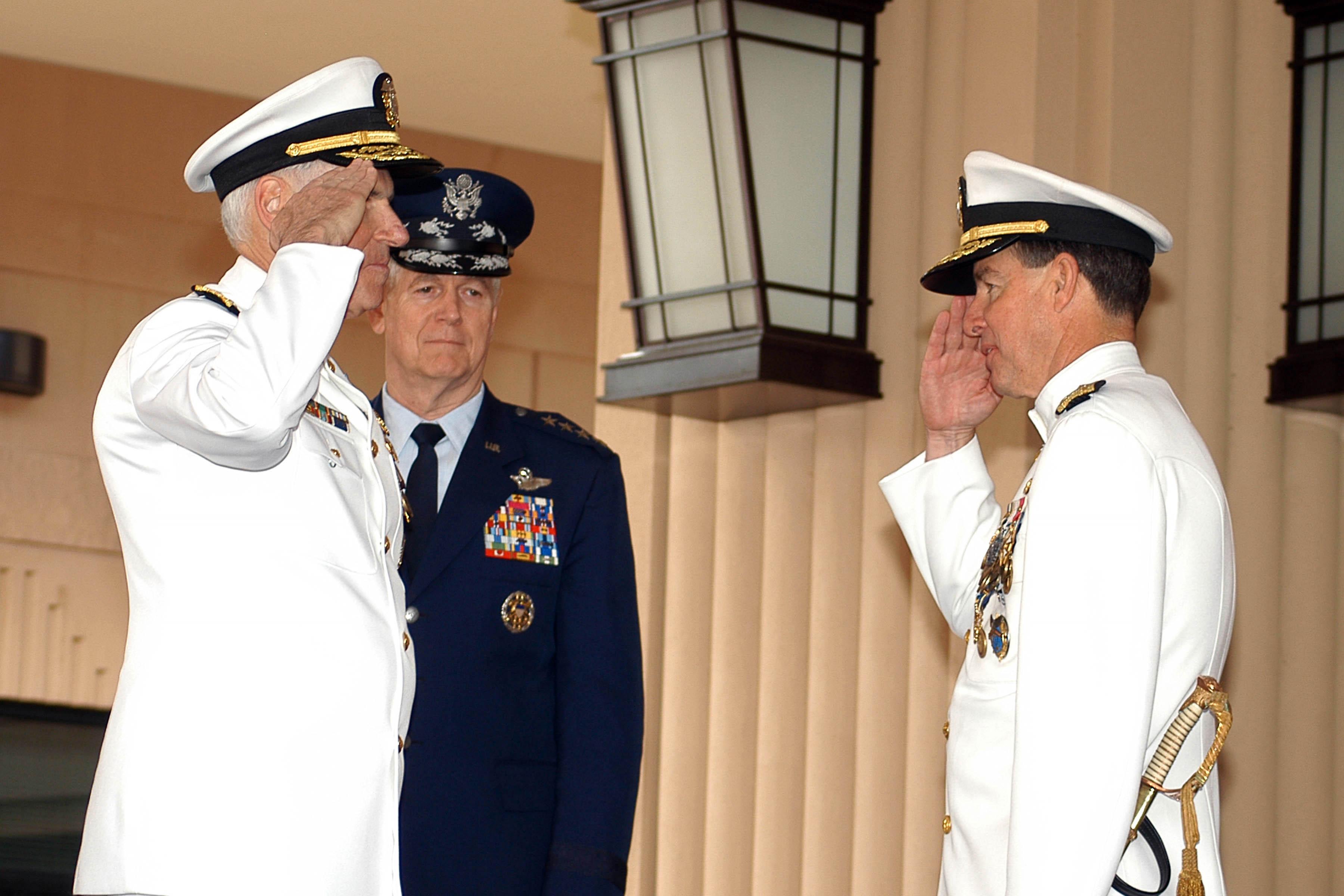 FileUS Navy 050226 N 5640H 076 Adm Thomas B Fargo Right Salutes Adm William J Fallon