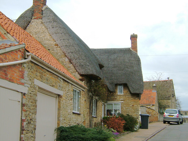 Variety of roofing materials, Weekley, Northants - geograph.org.uk - 151234
