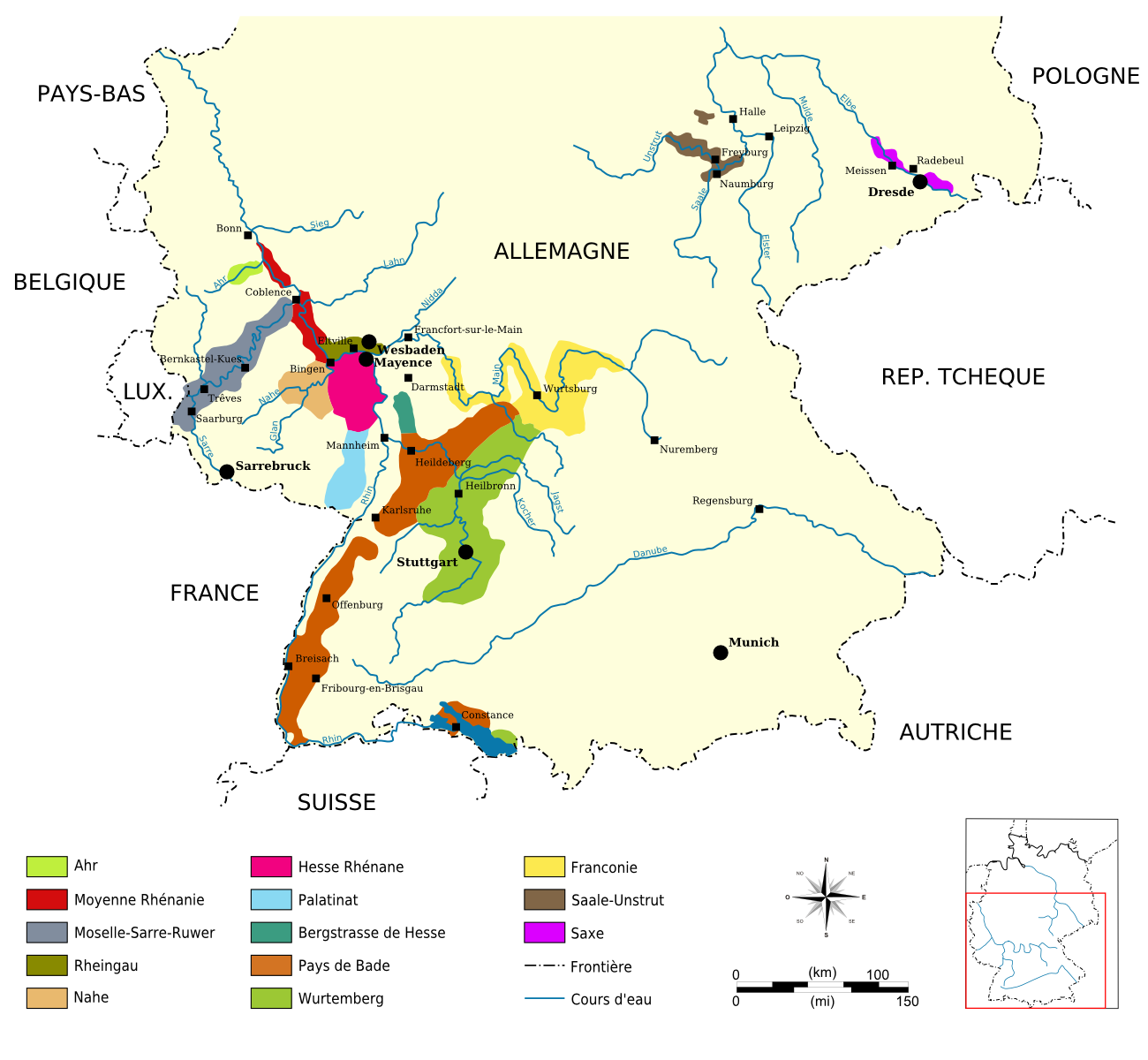Opinions On German Wine - Germany vineyards map