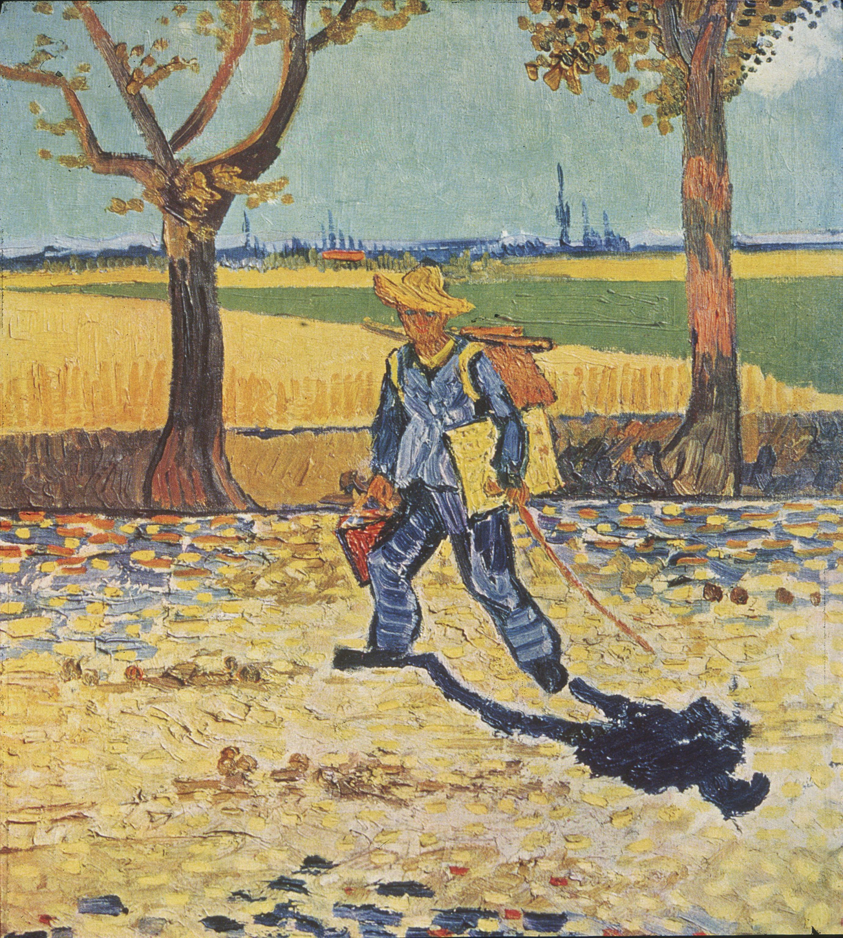 man wearing a straw hat, carrying a canvas and paintbox, walking to the left, down a tree lined, leaf strewn country road