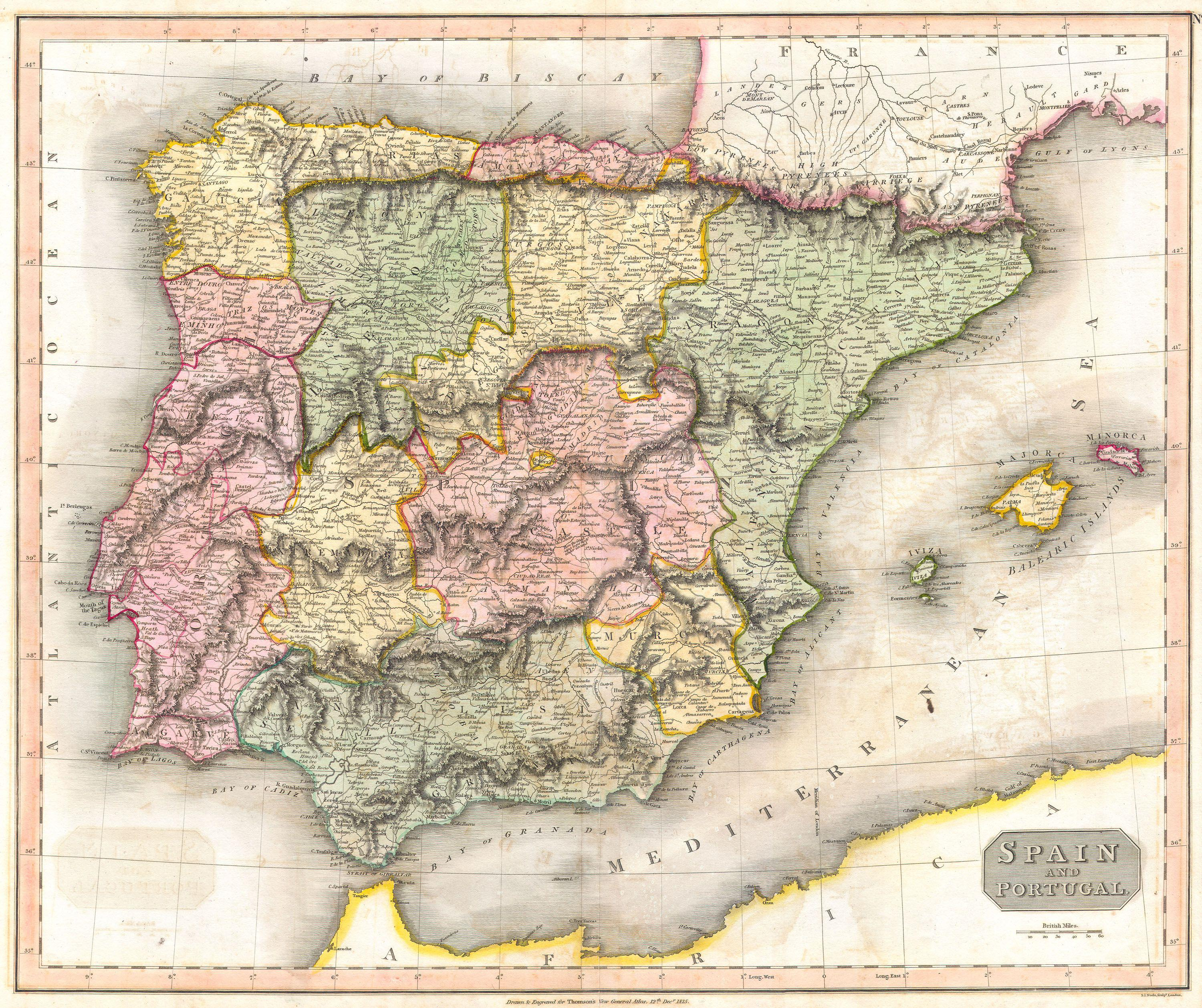 Map Of Spain Jpg.File 1815 Thomson Map Of Spain And Portugal Geographicus Spain T