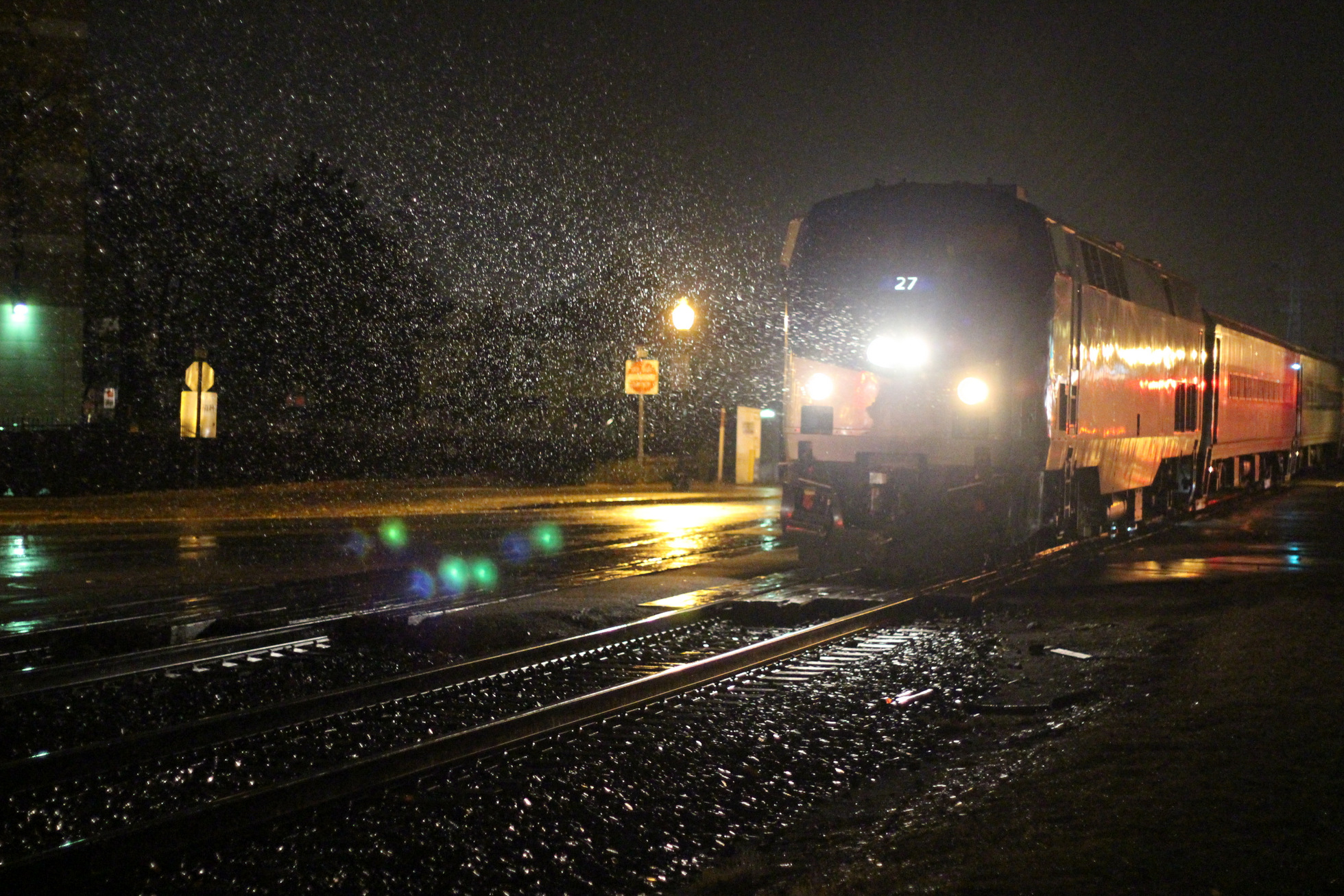 Amtrak Wolverine at Royal Oak during night rain, one of the best things to do in Austin Texas