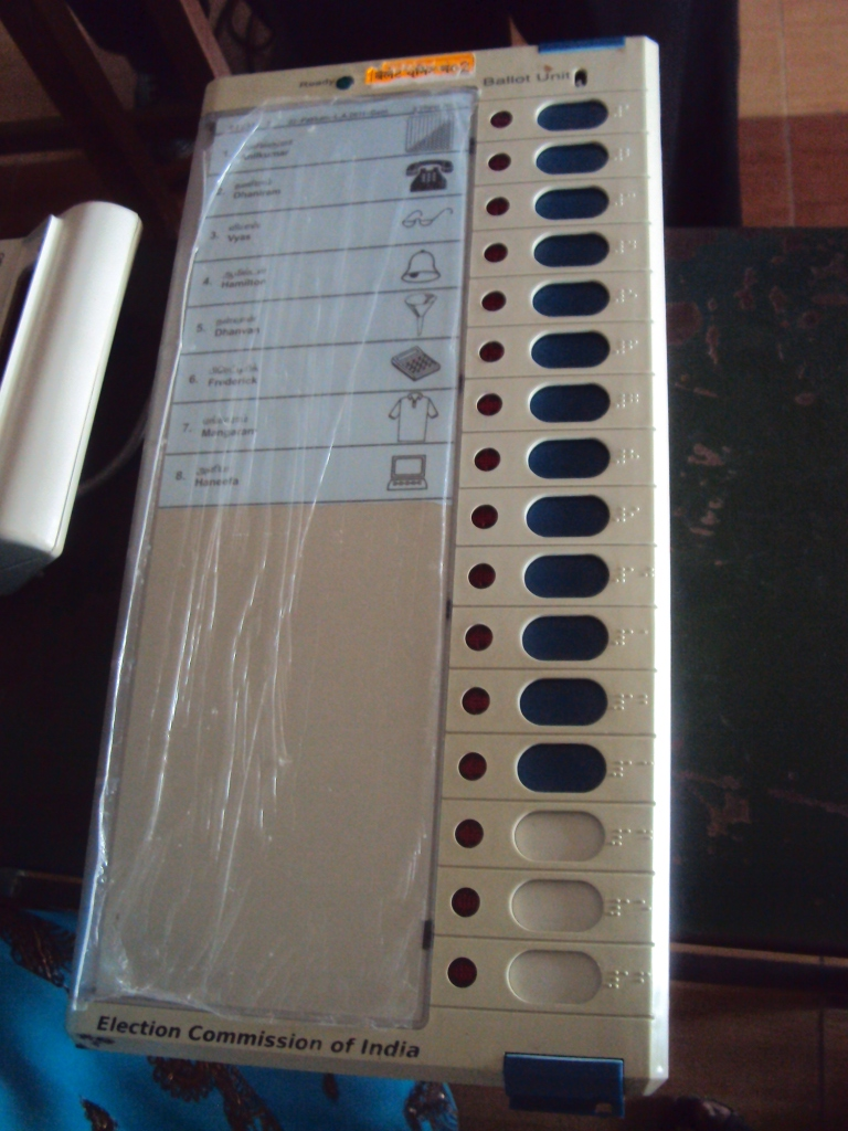 An Electronic Voting Machine in India.