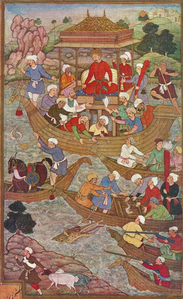 Babur crossing the river Son.jpg