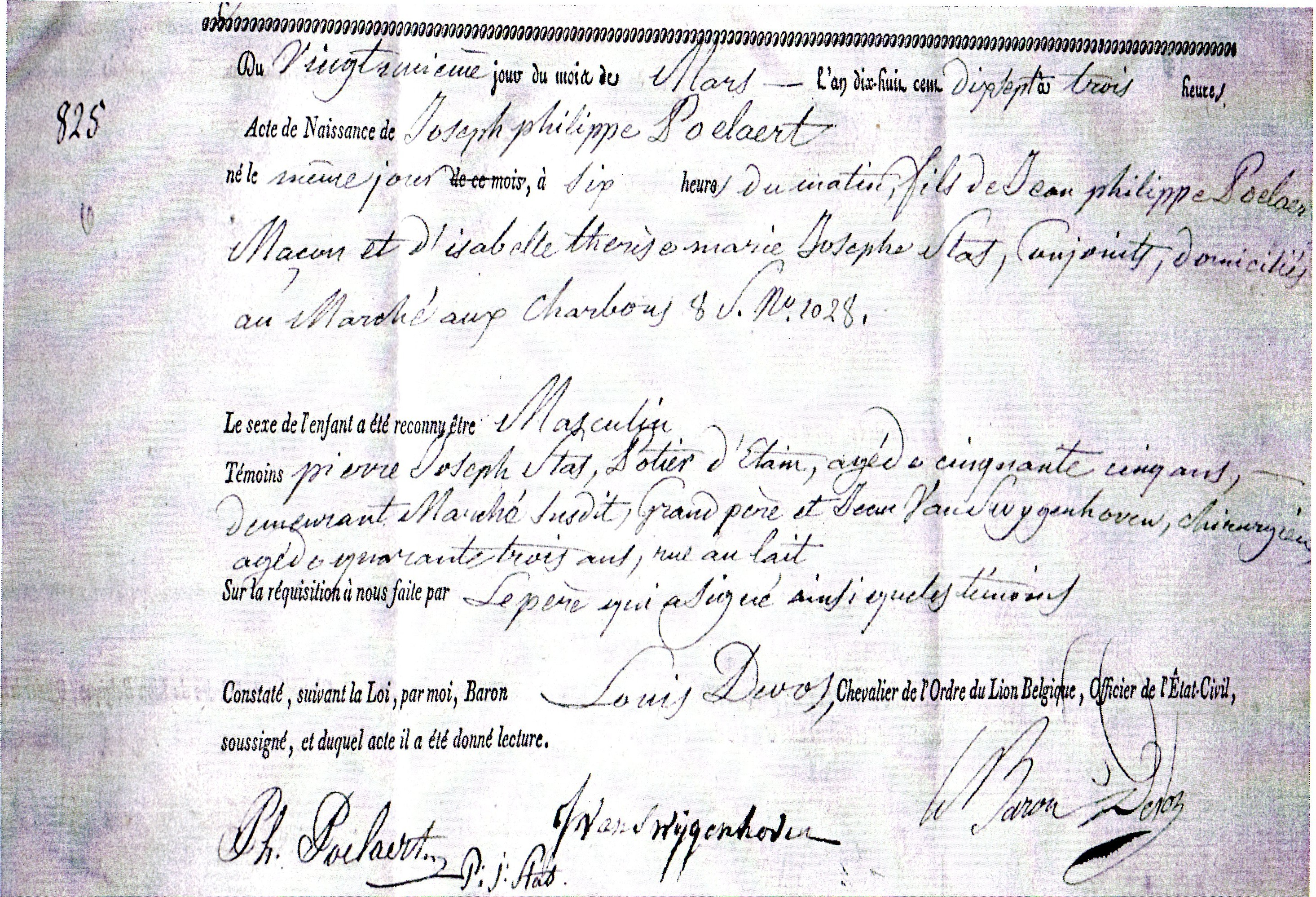 Filebirth Certificate Poelaert 1817g Wikipedia