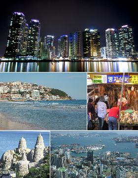 From top, going clockwise: Tanawin ng Busan paggabi, Talipapa ng Jagalchi, Haeundae paggabi, Haedong Yonggungsa Temple, Haeundae Beach