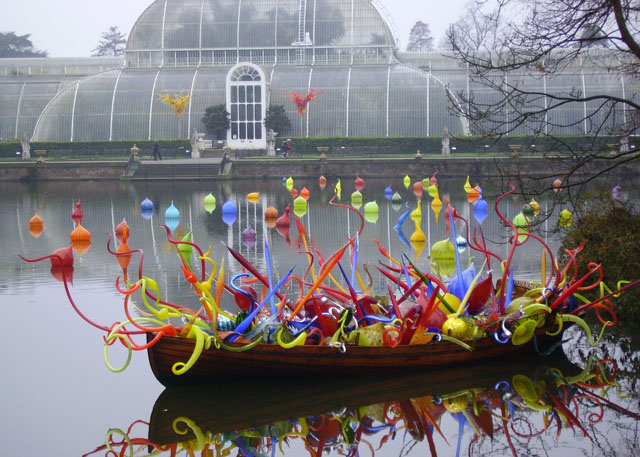 Chihuly glass in boat, morning, Palm House - geograph.org.uk - 297500.jpg