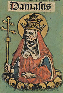 Pope Damasus as depicted in the Nuremberg Chronicle Damasus (Nuremberg chronicles f 131v 1.).jpg