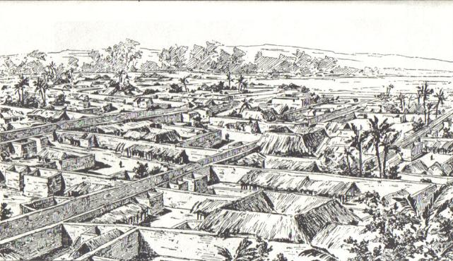 Old Village House Drawing Drawing of Benin City Made by