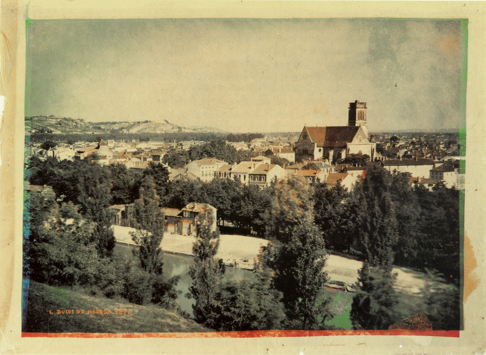 An 1877 Color Photographic Print On Paper By Louis Ducos Du Hauron The Foremost Early French Pioneer Of Photography Overlapping Yellow Cyan And