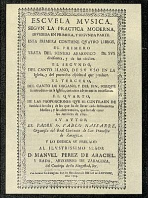 Portada de Escuela Música según la práctica moderna de Pablo Nasarre.