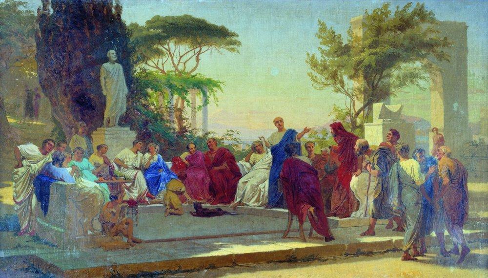 Horaci llegint davant Mecenàs, de Fedor Bronnikov