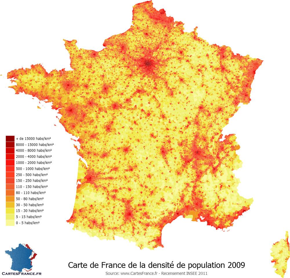 carte densité population france File:France densité 2009.   Wikimedia Commons
