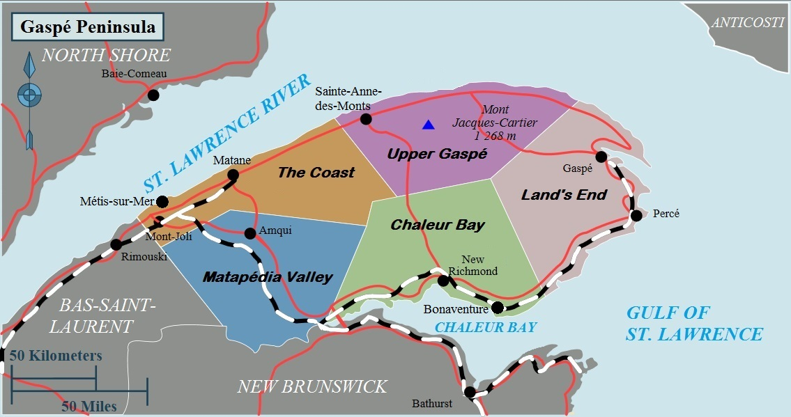 Gaspe Canada Map Gaspé Peninsula – Travel guide at Wikivoyage