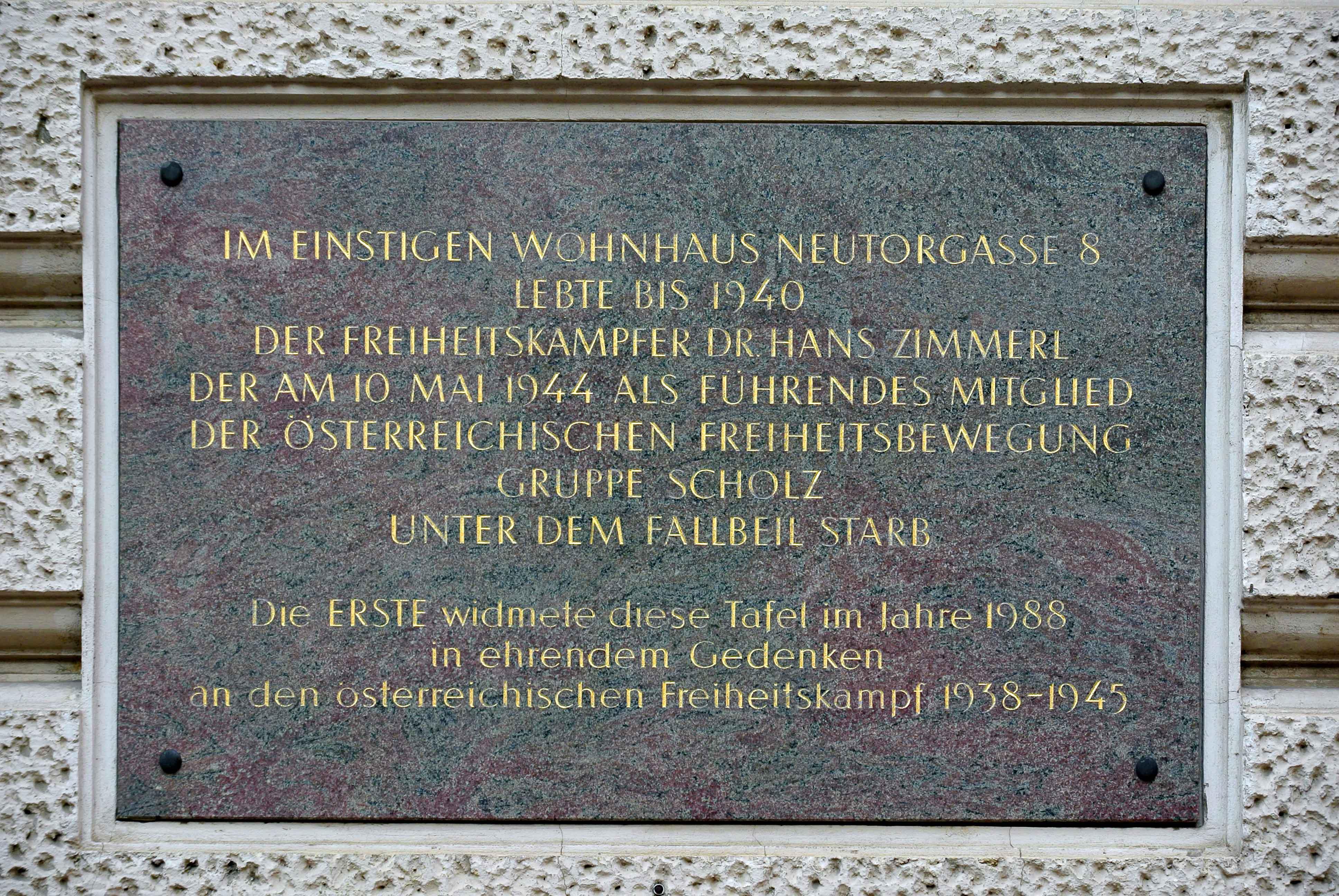 Hans Zimmerl, Gedenktafel Wien 1.,Neutorgasse 2 (viennpixelart).jpg