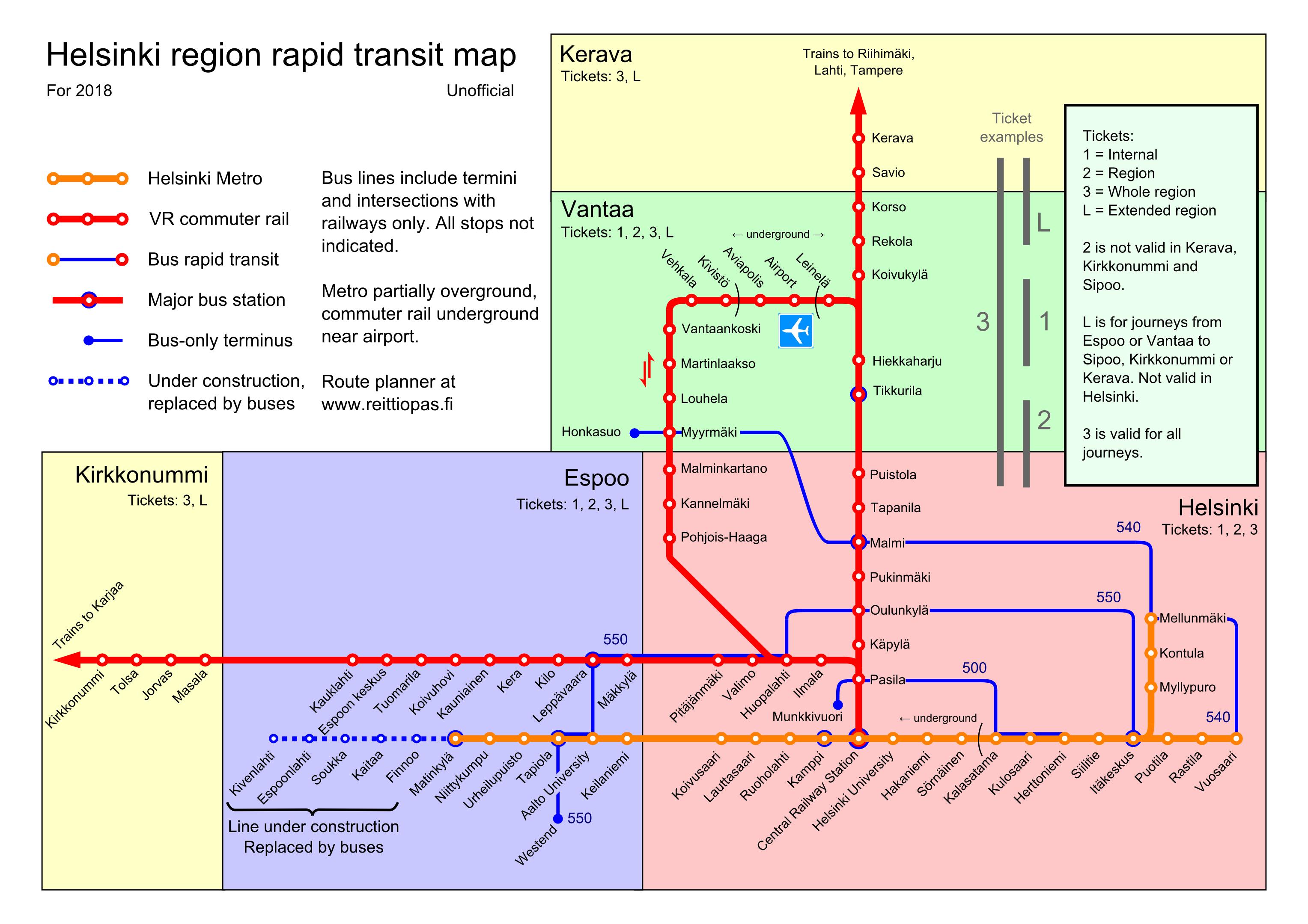 Pocketready rapid transit map for Helsinki region including metro