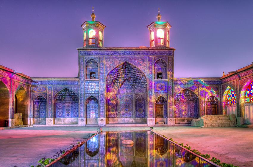 Islamic art: Islamic art: Nasir al-Mulk Mosque, Shiraz, Iran, View of the outside of the mosque at night.