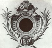 Cartouche (design) frame for a painted or engraved design