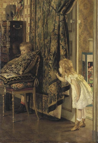 An image of a painting in which two children play hide and seek.