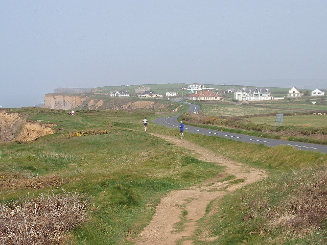 Joggers on coast path, Upton - geograph.org.uk - 411195