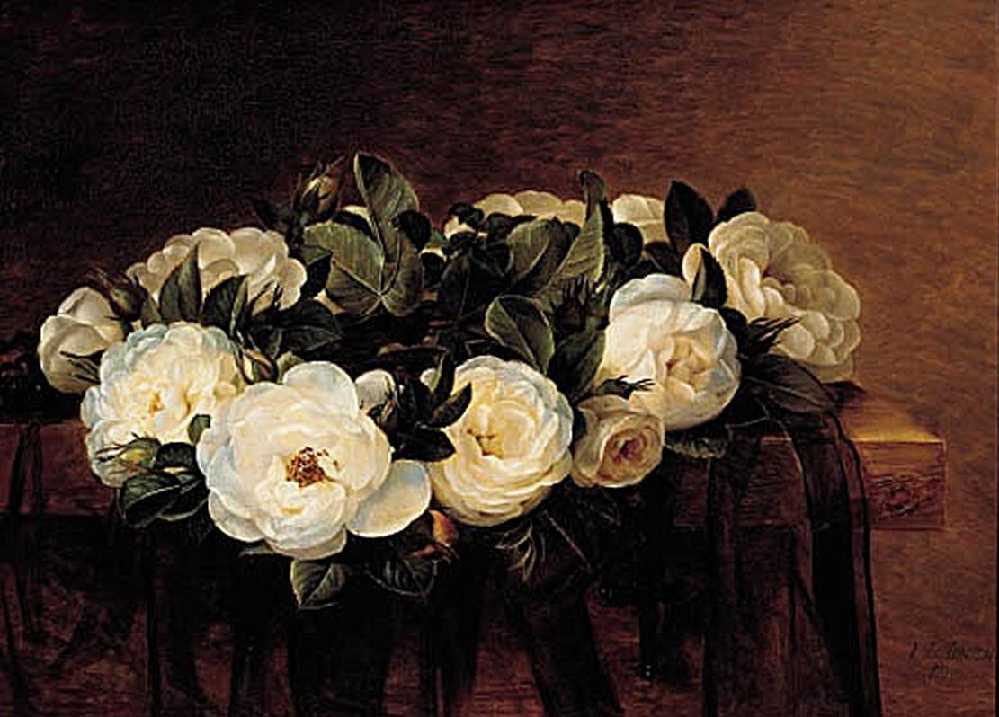 Johan Laurentz Jensen - Krans af hvide roser - 1837.png