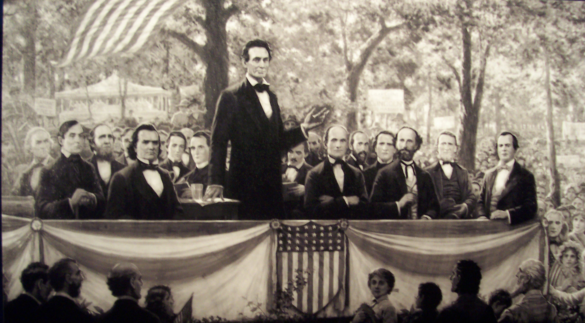 Lincoln at a debate with Stephen Douglas
