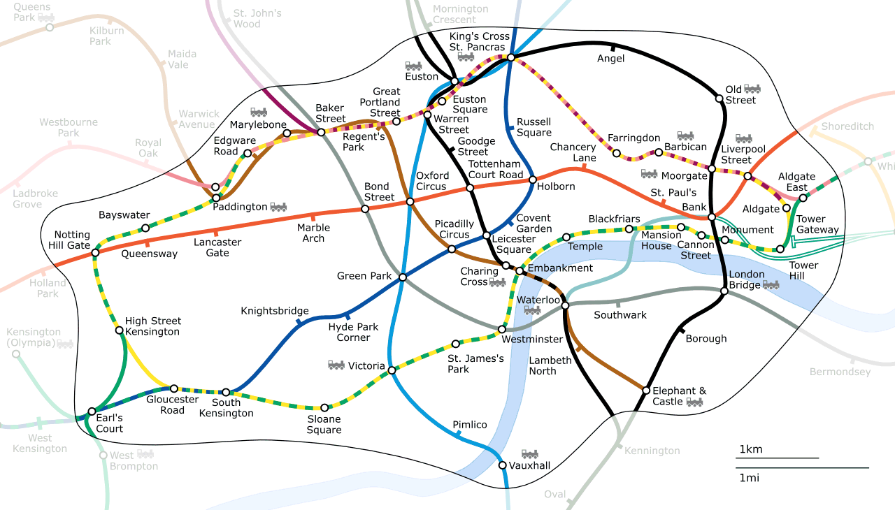 Geographical map of the London Underground (Wikipedia)