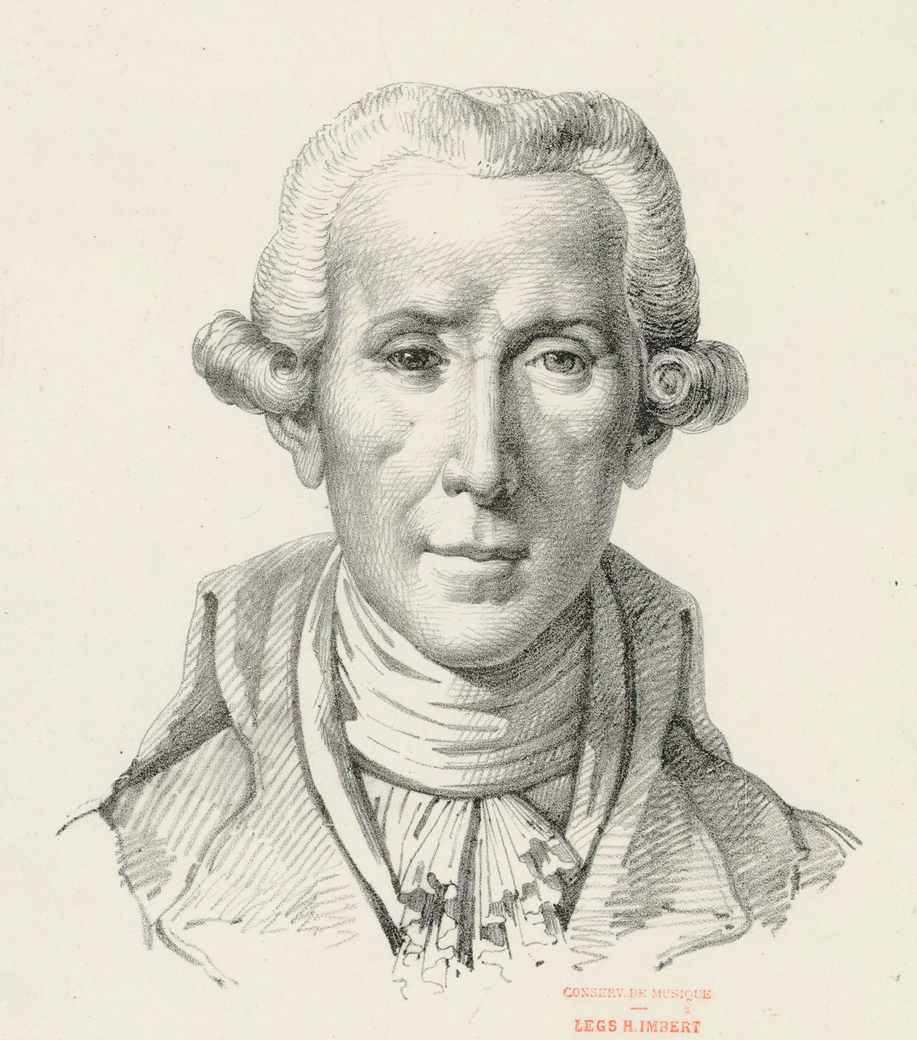 Pencil drawing of Luigi Boccherini by Etienne Mazas after a portrait bust