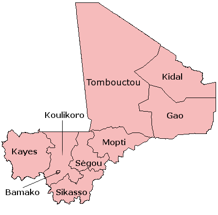 A clickable map of Mali exhibiting its eight regions and capital district.