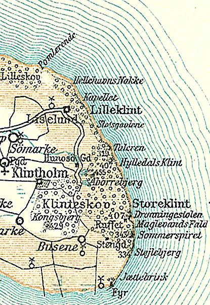 Carte des falaises de Mons Klint au Danemark vers 1900.