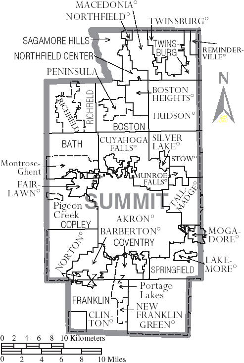 File:Map of Summit County Ohio With Municipal and Township Labels
