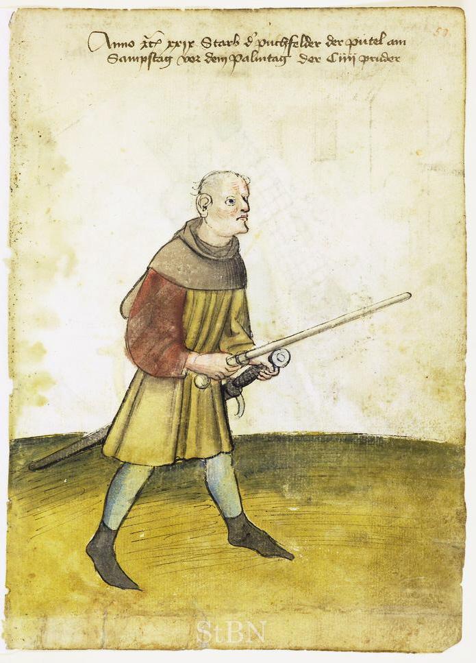 """Ein """"bütel"""" mit Amtsstab und Schwert im Hausbuch der Mendelschen Zwöflbrüderstiftung (1429). Nürnberg, Stadtbibliothek Amb. 317.2° fol. 50r."""