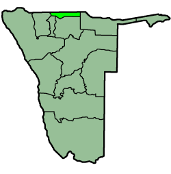 Location of the Ohangwena Region in نمیبیا