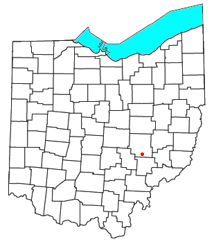 Location of Blue Rock, Ohio