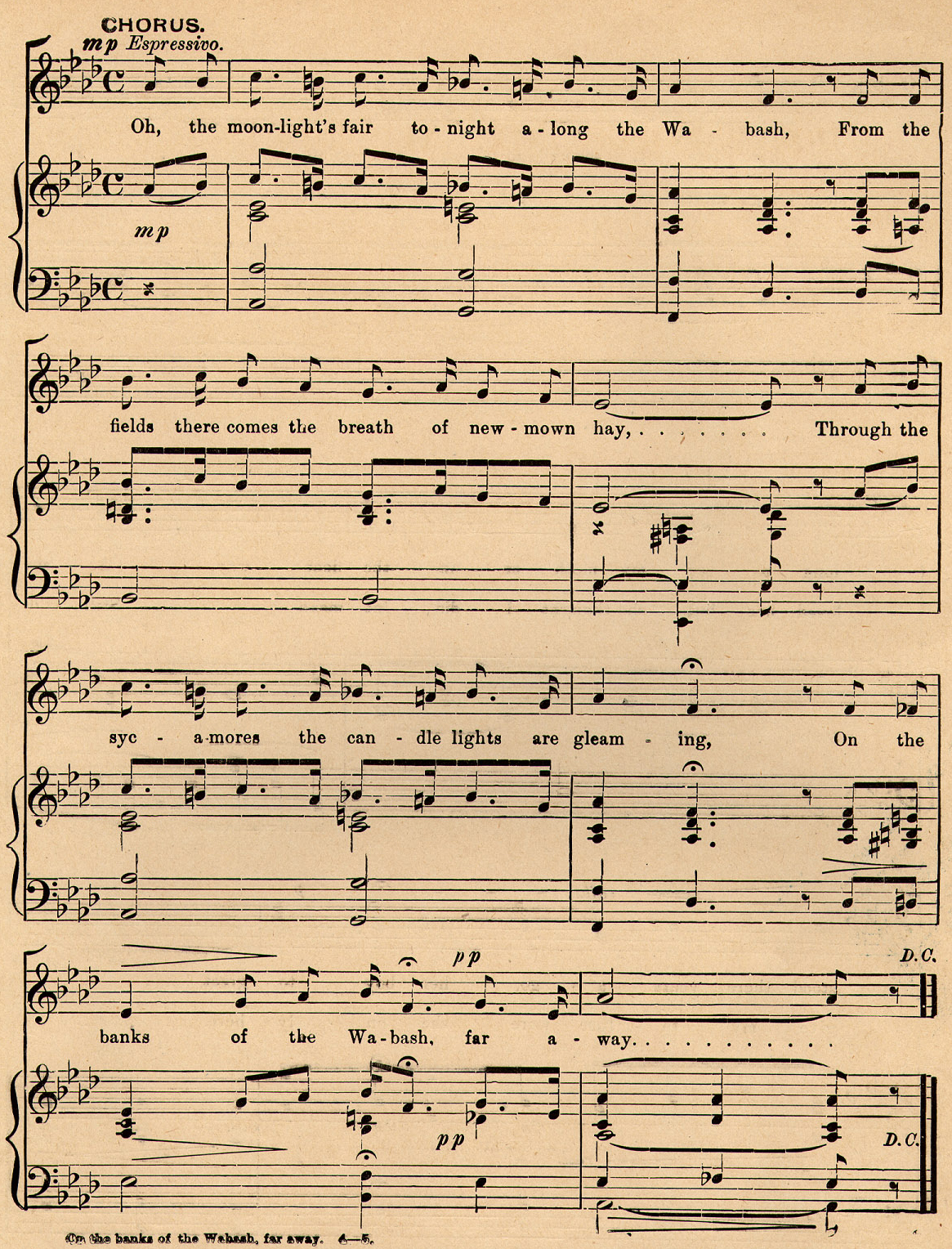 File:On the Banks of the Wabash, Far Away, chorus sheet music.jpg ...