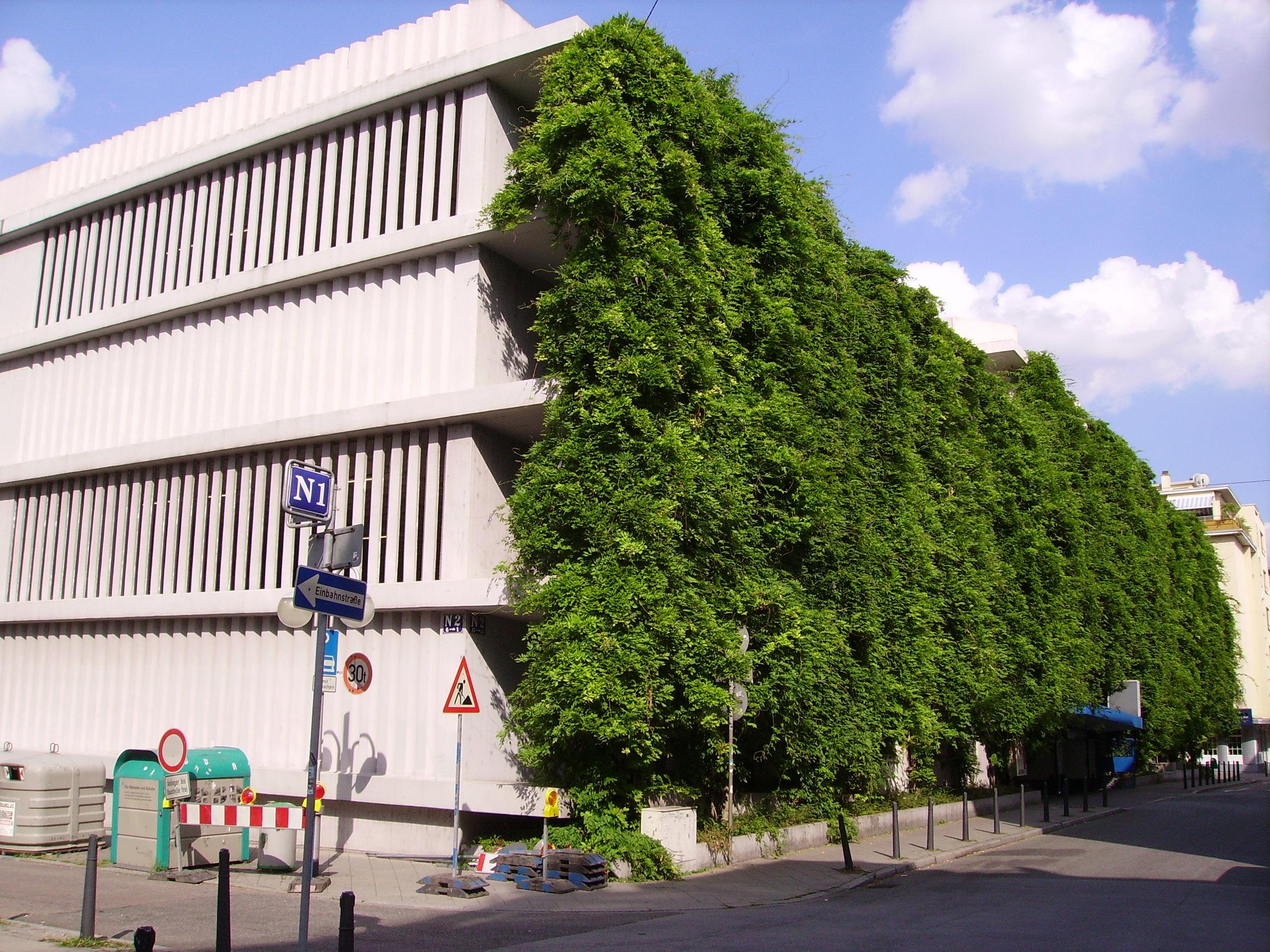 Ein Beispiel für eine komplette Fassadenbegrünung: Die Fassade des Parkhaus N2 in Mannheim (Bild: Immanuel Giel)