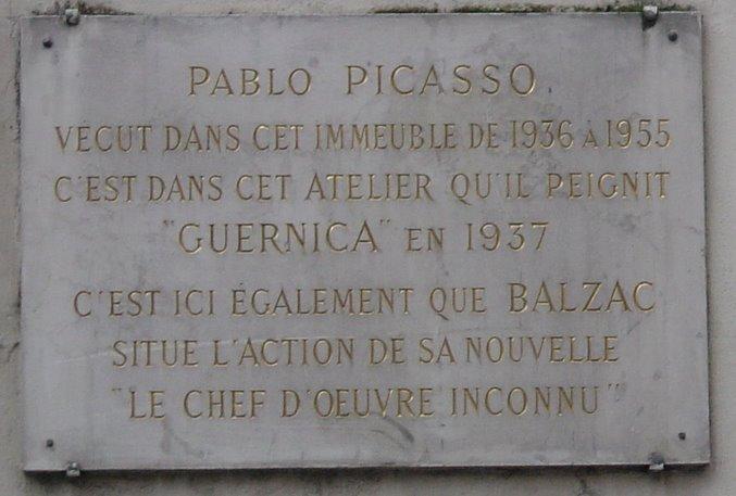 Plaque apposée sur l'hôtel de la rue des Grands-Augustins41, où Picasso résida dans les années 1930-1940. (sur Wikipédia)