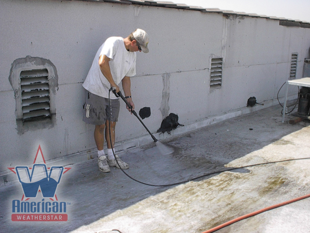 File:Power Washing A Commercial Flat Roof Prior To The Application Of A Roof  Coating