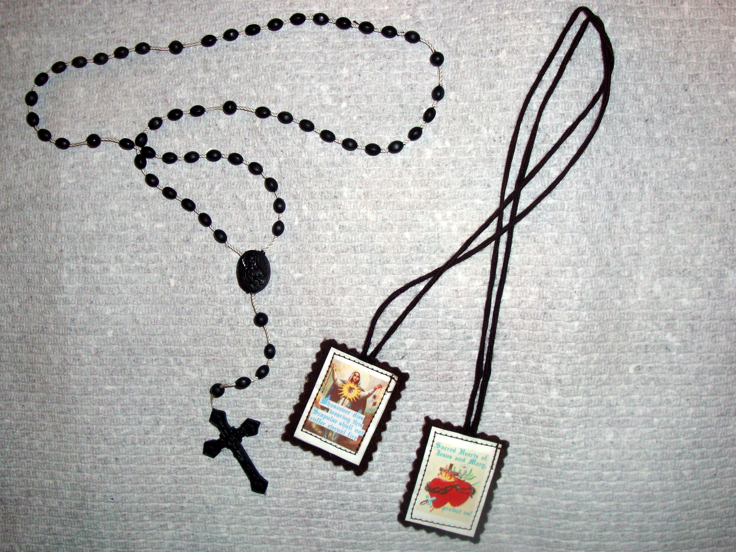 religious listing necklace gift il brown catholic scapular