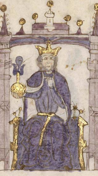 Wikipedia--Miniatura del Rey Sancho del Compendio de crónicas de Reyes, s. XV, Biblioteca Nacional, Madrid.