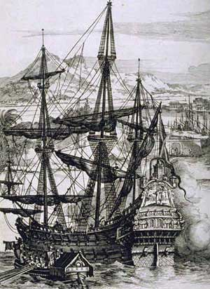 A Spanish galleon, or large ship powered entirely by wind, using sails carried on three or four masts.