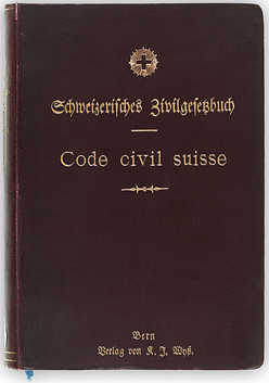 The first edition of the Swiss Civil Code (around 1907). In 1911, it became the first civil code to include commercial law (Swiss Code of Obligations). Swiss civil code 1907.jpg
