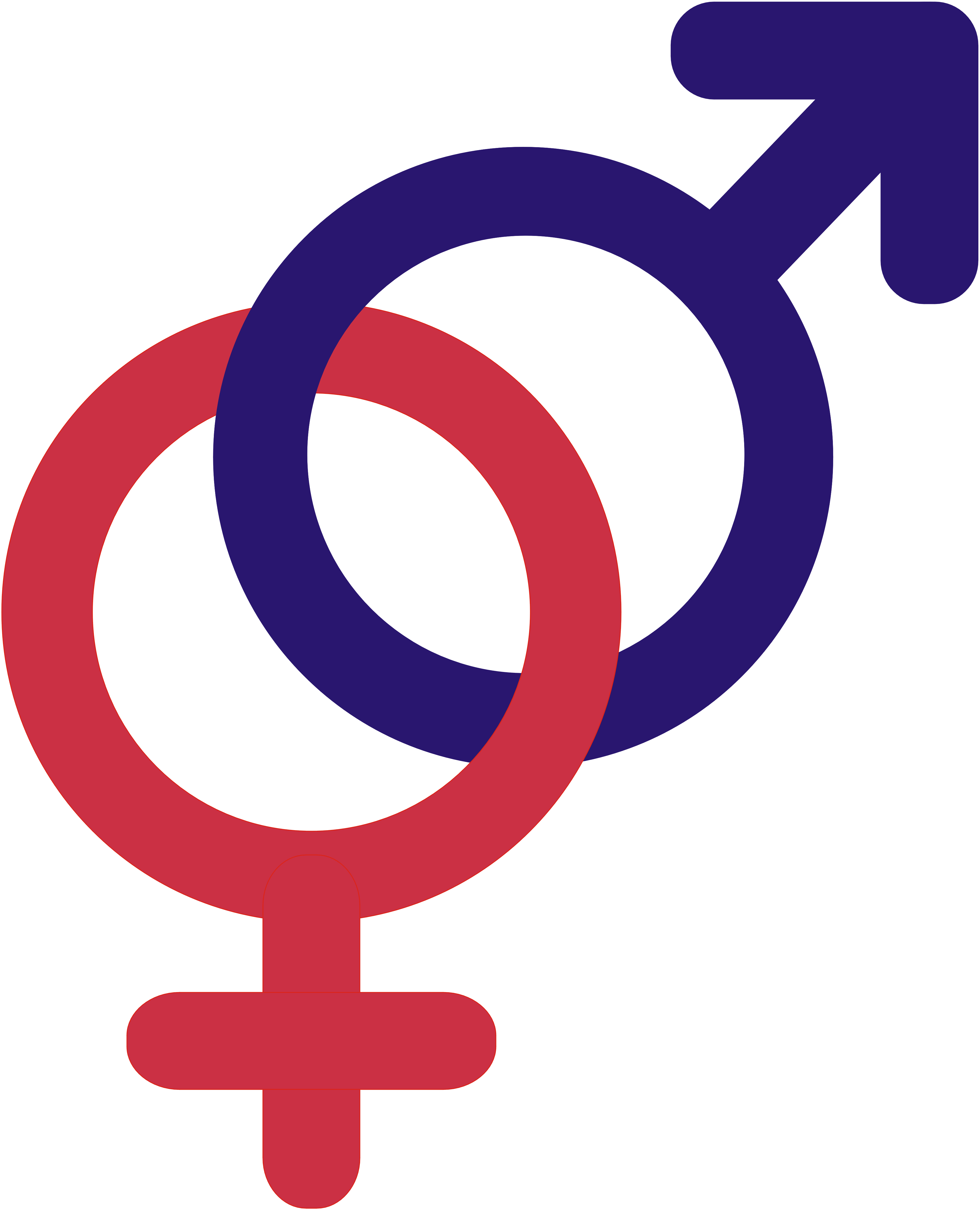 Male and female symbols, intertwined