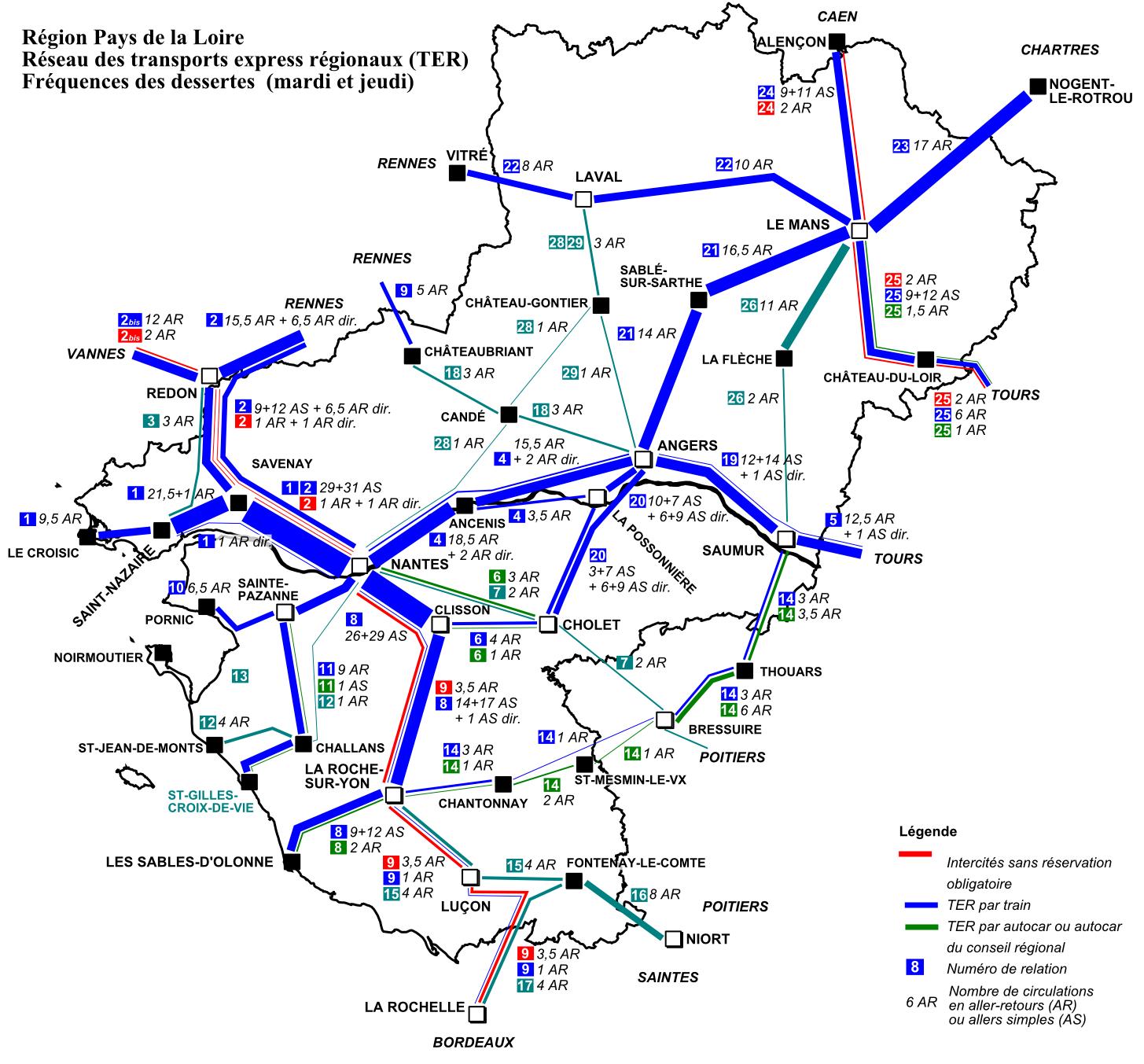 carte ter pays de la loire File:TER Pays de la Loire, fréquence de la desserte.png