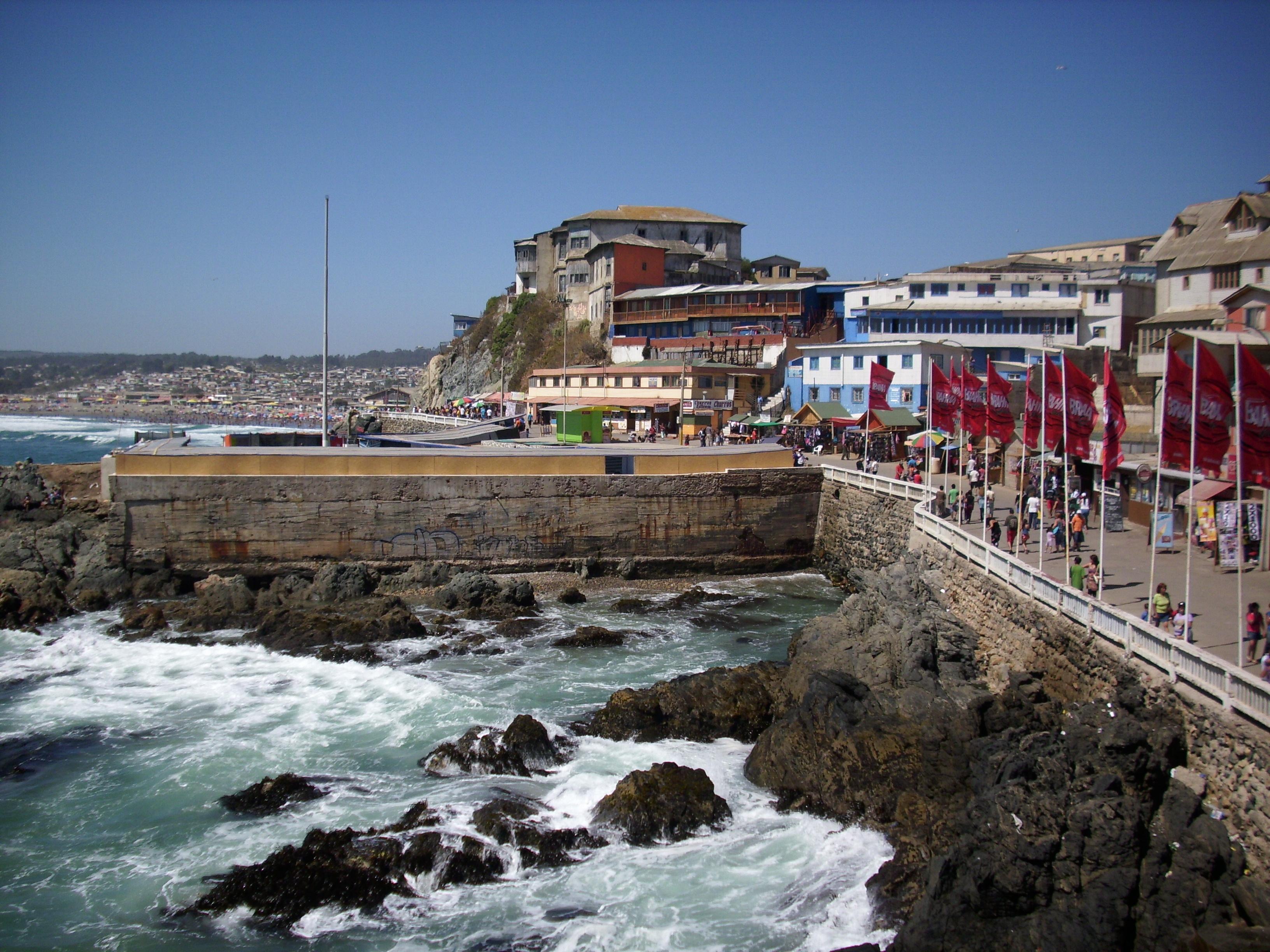 Concon Beach Chile Build Wall