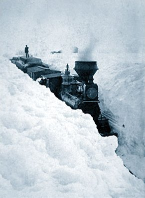 A snow blockade in southern Minnesota, central US. On March 29, 1881, snowdrifts in Minnesota were higher than locomotives. Train stuck in snow.jpg