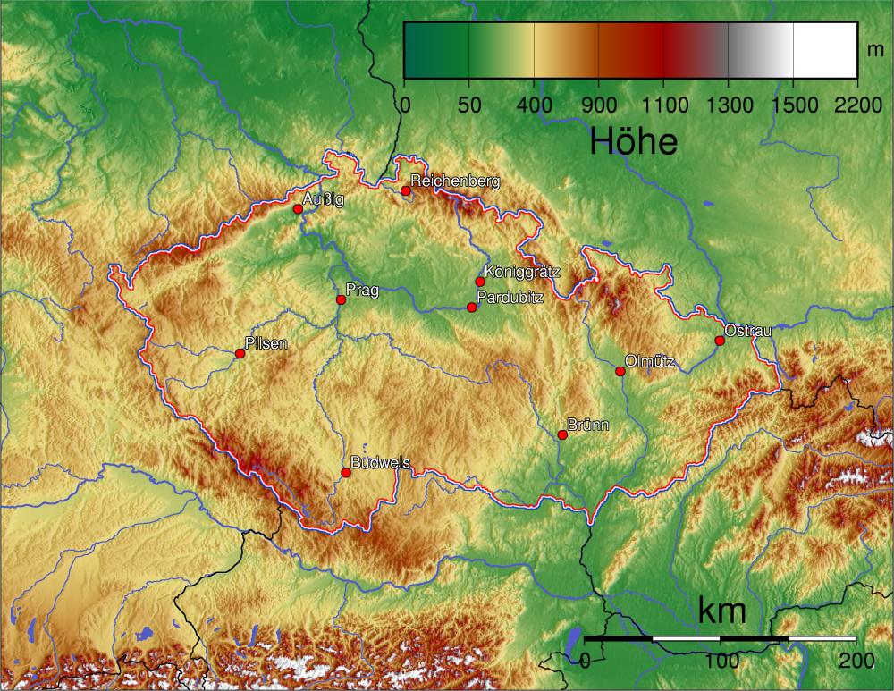csehország domborzati térkép Wy/hu/Csehország   Wikimedia Incubator csehország domborzati térkép