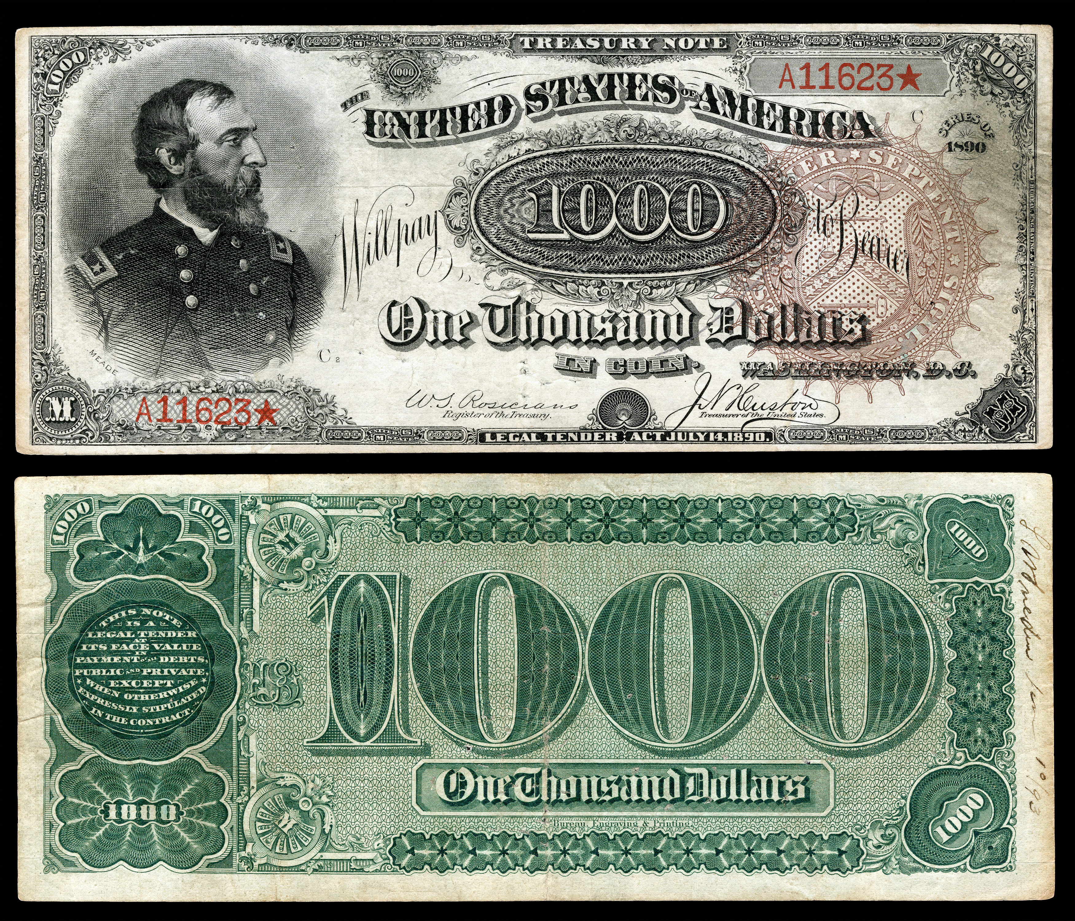 1 000 Treasury Note 1890 91 Series Fr 379a