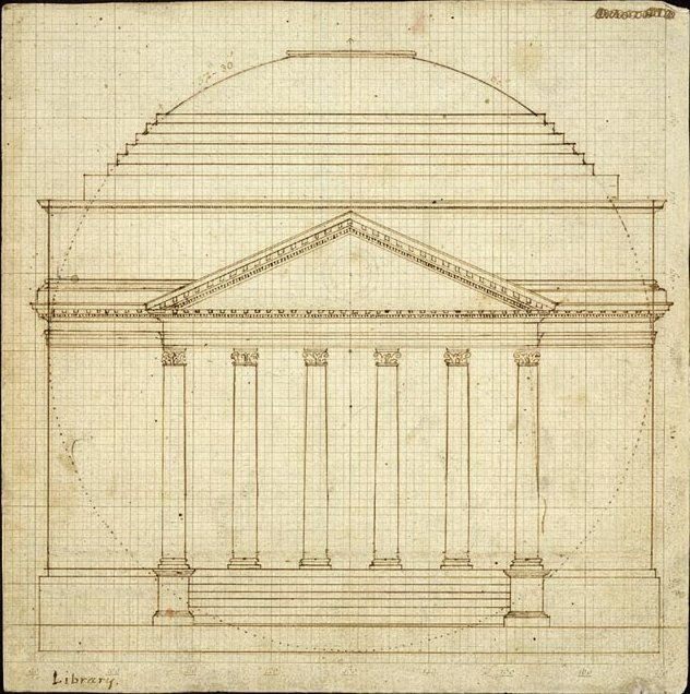 Elevation of The Rotunda drawn by Thomas Jefferson in 1819