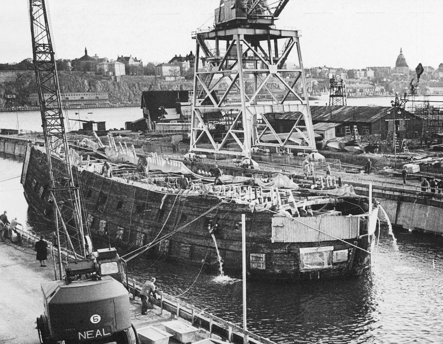 The warship vasa heading into beckholmens dry dock for Vasa ship